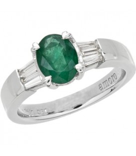 Rings - 1.53 Carat Classic Oval and Baguette Cut Emerald and Diamond 14Kt White Gold Ring