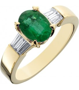 Rings - 1.53 Carat Classic Oval and Baguette Cut Emerald and Diamond 14Kt Yellow Gold Ring