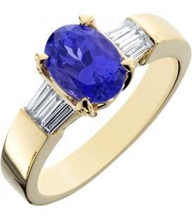 Rings - 1.78 Carat Classic Oval and Baguette Cut Tanzanite and Diamond 14Kt Yellow Gold Ring