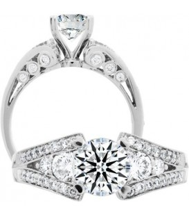 Semi-Mount - 0.74 Carat Exquisite 18Kt White Gold Ring Setting