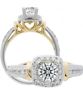 Semi-Mount - 0.75 Carat Exquisite 18Kt Two-Tone Gold Ring Setting