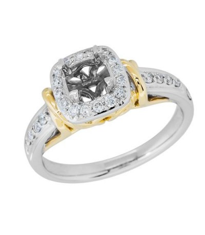 0.27 Carat Exquisite 18Kt Two-Tone Gold Ring Setting