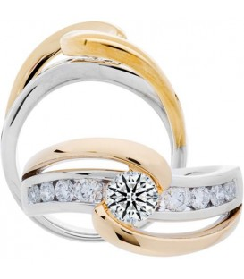 Semi-Mount - 1 Carat Exquisite 18Kt Two-Tone Gold Ring Setting