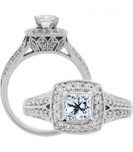 Semi-Mount - 0.90 Carat Exquisite 18kt White Gold Ring Setting
