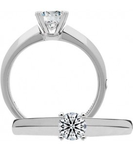Semi-Mount - Round Brilliant Platinum Setting for 0.75 Ct Diamond.
