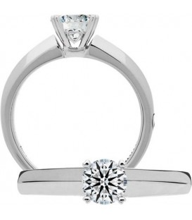 Semi-Mount - Round Brilliant Platinum Setting for 1 Ct Diamond.