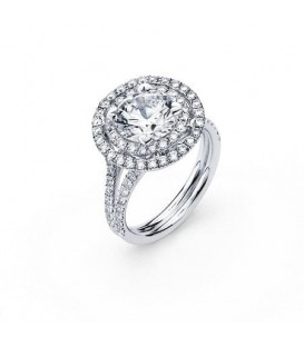 More about 0.90 Carat Round Brilliant Halo Diamond 18Kt White Gold Ring Setting