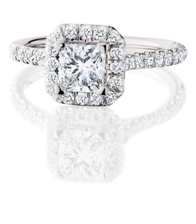 1.67 Carat Princess Cut Eternitymark Diamond Bridal Set 18 Karat White Gold Ring