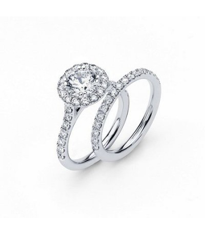 Rings - 1.13 Carat Round Brilliant Eternitymark Diamond Ring Bridal Set in 18 Karat White Gold