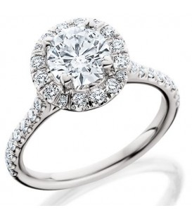More about 0.51 Carat Round Brilliant Halo Diamond 18Kt White Gold Ring Setting