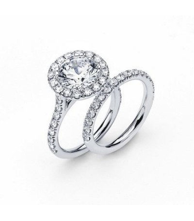 Rings - 1.97 Carat Round Brilliant Eternitymark Diamond Ring Bridal Set in 18 Karat White Gold