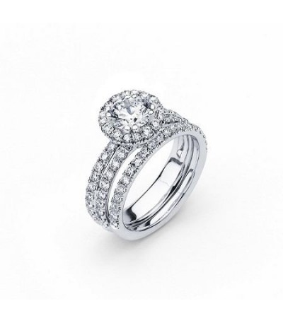 Rings - 1.25 Carat Round Brilliant Eternitymark Diamond Ring Bridal Set in 18 Karat White Gold