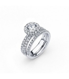 Rings - 1.58 Carat Round Brilliant Eternitymark Diamond Ring Bridal Set in 18 Karat White Gold