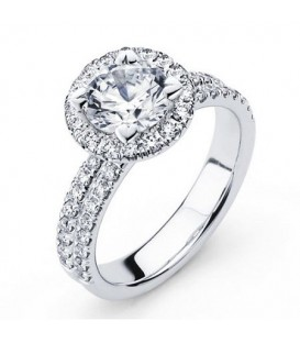 More about 0.56 Carat Round Brilliant Halo Diamond 18Kt White Gold Ring Setting
