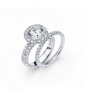 Rings - 2.15 Carat Round Brilliant Eternitymark Diamond Ring Bridal Set in 18 Karat White Gold