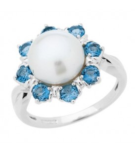 Rings - White Cultured Freshwater Pearl and Blue Topaz Ring in 925 Sterling Silver