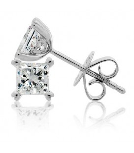 0.50 Carat Princess Cut Diamond Earrings 18Kt White Gold