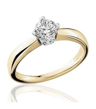 0.50 Carat Round Brilliant Cut Diamond Solitaire Ring 18Kt Yellow Gold