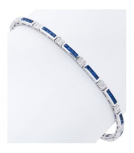 Bracelets - 3.89 Carat Sapphire and Diamond Bangle 18Kt White Gold