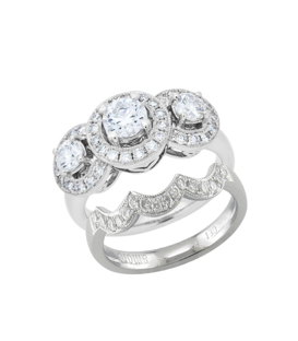 Rings - 1.46 Carat Round Brilliant Diamond Bridal Set 18Kt White Gold