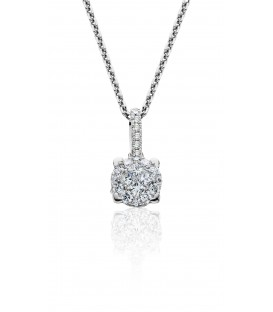 0.29 Carat Diamond Invisible Set Necklace 18Kt White Gold