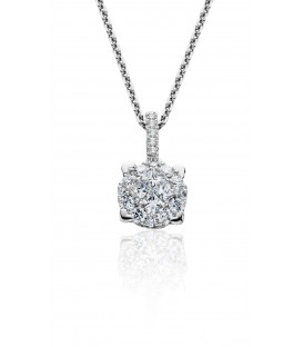 0.53 Carat Diamond Invisible Necklace 18Kt White Gold