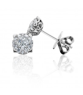 0.46 Carat Invisible Set Diamond Earrings 18Kt White Gold