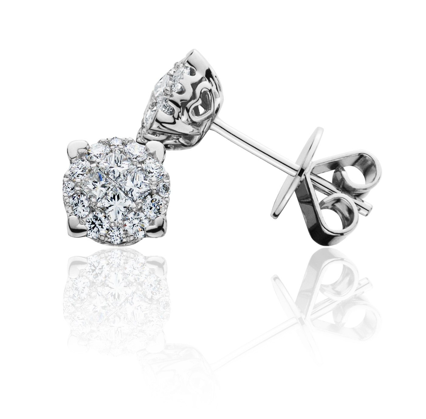 earring cubic jewelry invisible products princess iced stud zirconia silver popular cz sterling set out cut back earrings