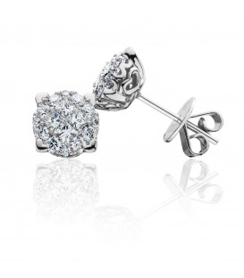 0.99 Carat Invisible Diamond Earrings 18Kt White Gold