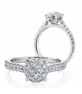 0.87 Carat Invisible Set Diamond Ring 18Kt White Gold