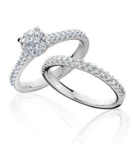 0.84 Carat Invisible Diamond Bridal Set 18Kt White Gold