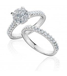 1.24 Carat Invisible Diamond Bridal Set 18Kt White Gold