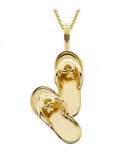 Double Sandal Pendant 14Kt Yellow Gold