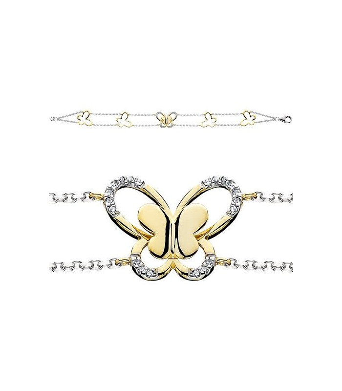 0.06 CARAT DIAMOND BUTTERFLY BRACELET 14KT TWO-TONE GOLD