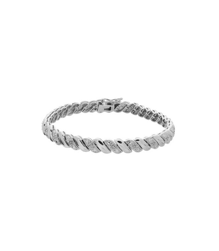 0.11 CARAT DIAMOND WAVE BRACELET 925 STERLING SILVER