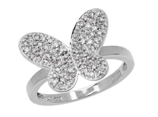 0.25 CARAT ROUND CUT DIAMOND BUTTERFLY 14KT WHITE GOLD RING