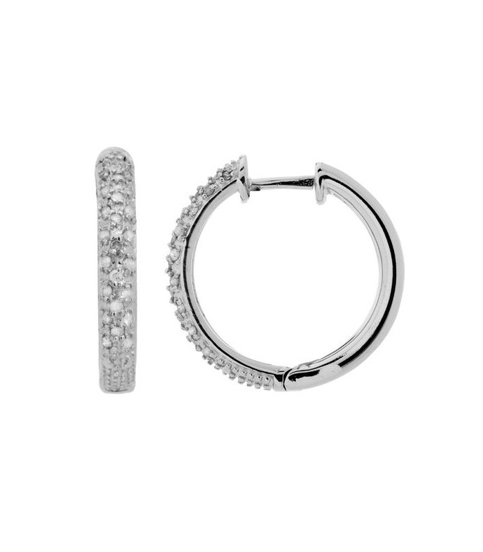 0.31 CARAT ROUND CUT MEDIUM HOOP DIAMOND EARRINGS 925 STERLING SILVER