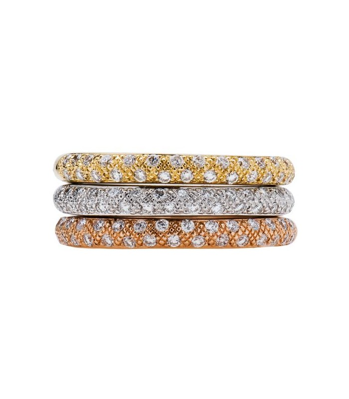 0.77 CARAT ROUND BRILLIANT DIAMOND RINGS 18KT TRI-COLOR GOLD