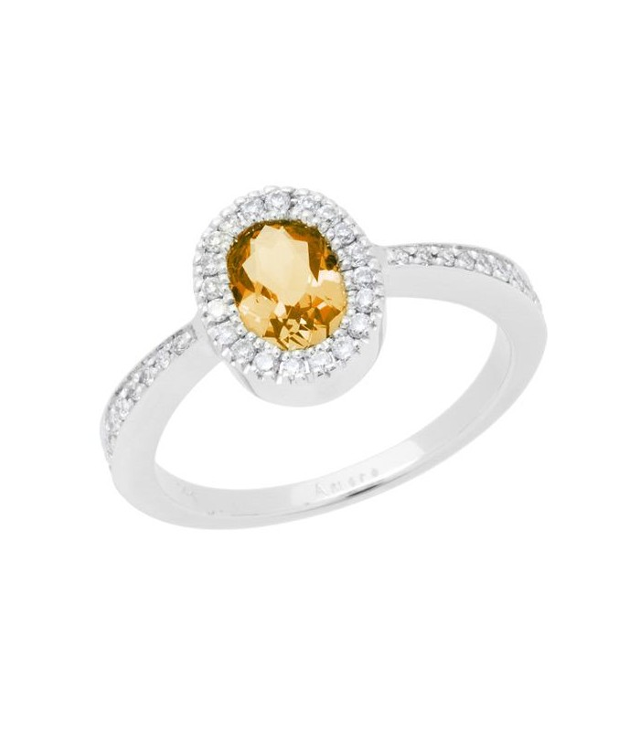 0.84 CARAT OVAL CUT CITRINE AND DIAMOND RING 14KT WHITE GOLD