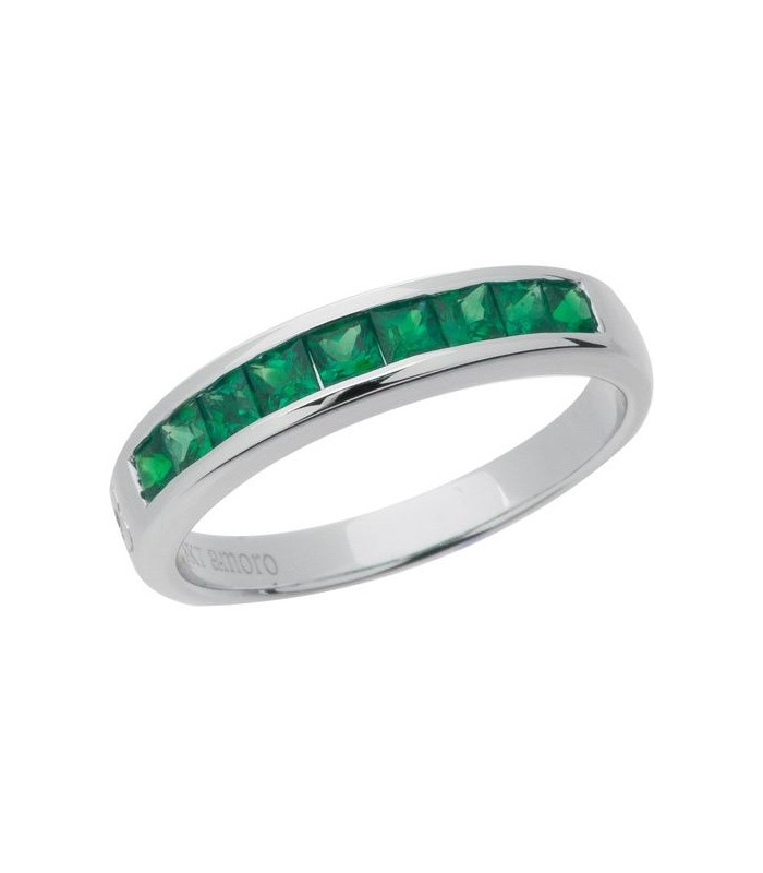 0.90 CARAT SQUARE CUT EMERALD BAND 18KT WHITE GOLD