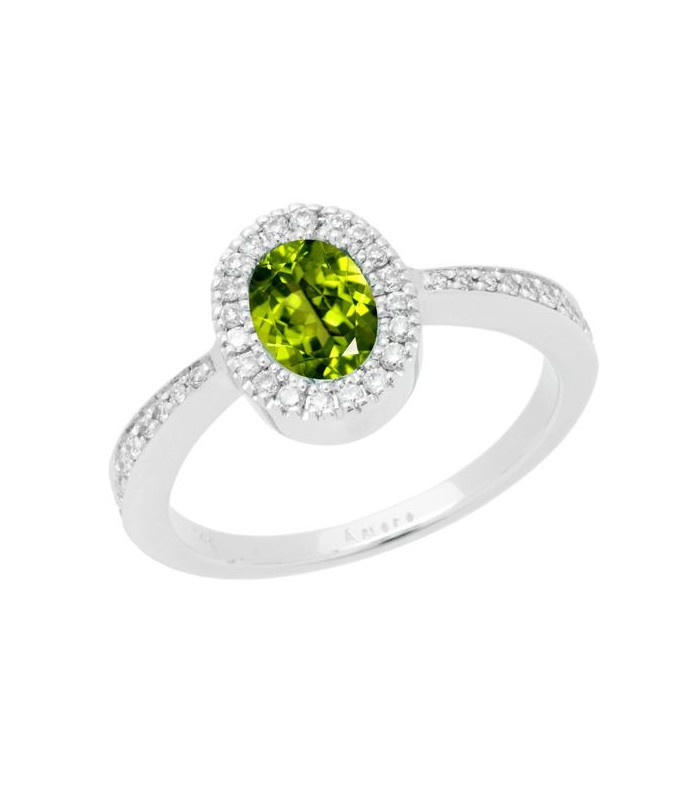1.02 CARAT OVAL CUT PERIDOT AND DIAMOND RING 14KT WHITE GOLD