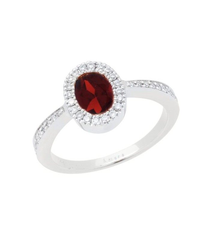 1.04 CARAT OVAL CUT GARNET AND DIAMOND RING 14KT WHITE GOLD