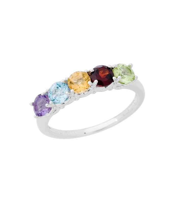 1.05 CARAT ROUND CUT MULTI-COLOR RING 925 STERLING SILVER