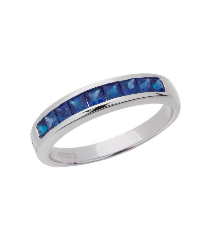 1.20 CARAT SQUARE CUT SAPPHIRE BAND 18KT WHITE GOLD