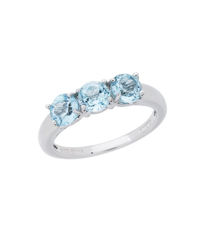 1.35 CARAT ROUND CUT BLUE TOPAZ RING 925 STERLING SILVER