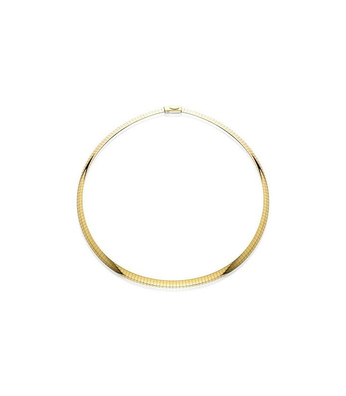 14KT AND STERLING SILVER REVERSIBLE OMEGA NECKLACE 16``, WIDTH 6 MM