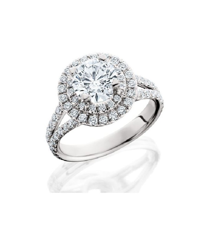 1.84 CARAT ROUND BRILLIANT ETERNITYMARK DIAMOND RING 18KT WHITE GOLD