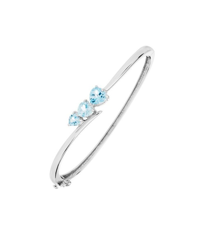 2.65 CARAT BLUE TOPAZ BANGLE BRACELET 925 STERLING SILVER