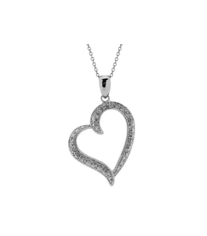 DIAMOND OPEN HEART PENDANT 925 STERLING SILVER
