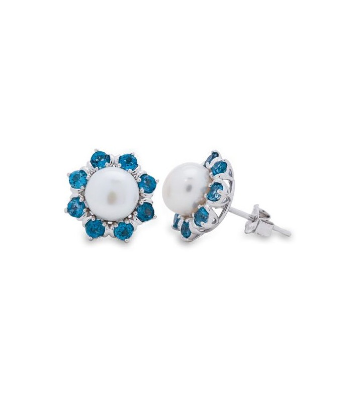 WHITE CULTURED FRESHWATER PEARLS AND LONDON BLUE TOPAZ 925 STERLING SILVER